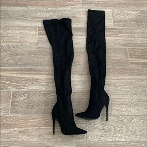 prettylittlething thigh high heeled boots size 4